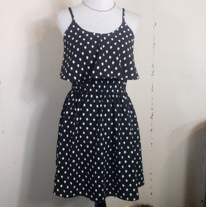 Elle S black/white polkadot dress